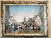18th Century French Diorama With Decoupage College Of St Mary Oxford