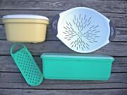Vintage Tupperware Cheese Grater, Celery, Veg Keeper With Lids And Oxo Colander