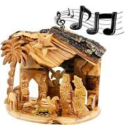 Musical 'silent Night' Nativity Scene From Olive Wood - Holy Land Nativity Sets