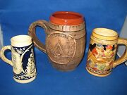 Lot Of Three Antique German Embossed Beer Mugs Different Color And Brand Nice