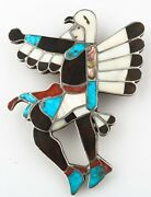 Zuni Eagle Dancer Bolo Tie Holder Featuring Lapidary Inlay