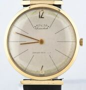 Vintage 14k Yellow Gold Menand039s Moviga Hand-winding Watch W/ Leather Strap