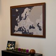 Earth Toned Europe - Travel Map With Pins - Explore Europe - Great Gift Idea