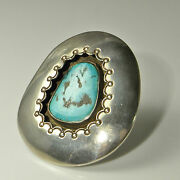 Native American Turquoise Cabochon Ring Vintage Statement Unisex Silver Old Pawn