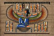 Winged Goddess Isis Egyptian Papyrus Stretch Canvas Wall Art Poster Print Egypt