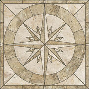 48 Porcelain Tile Captainand039s Compass Rose Mosaic Medallion - Handmade In The Usa