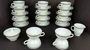 31 Vtg Pyrex Dove Gray Rimmed In Gold Trim Cups And Saucers Sugar Creamer Set