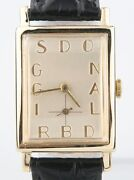 Vintage Donald Briggs 14k Yellow Gold Hand-winding Watch W/ Leather Strap