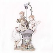 Lladro 1882 May My Wish Come True Young Girl At Wishing Well Rare Retired