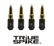 24pc Vms 89mm 1/2 Steel Lug Nuts W/ 24k Gold Extended Bullets For Jeep Cj5