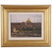 Richard Fillhouer Paris Dome Oil On Board Signed And Inscribed On Reverse