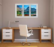 Window Landscape View Canada Mountain Lake 2 Closed Wall Decal Sticker Graphic