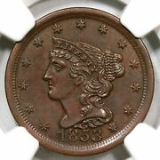 1853 C-1 Ngc Unc Details Braided Hair Half Cent Coin 1/2c