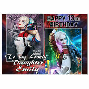 C134 Large Personalised Birthday Card For Any Name Suicide Squad Harley Quinn
