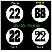 Vintage Look Meatball Race Car Numbers Vinyl Decals 2x - Select Size And Color