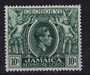 Jamaica 1938 Kgvi 10s With Major Printing Flaw On Neck Fine Mint