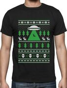 Alien Reindeer Abduction Ugly Christmas Sweater T-shirt Xmas