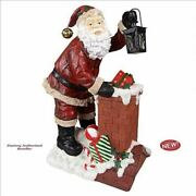 Christmas Eve With Jolly Old Elf Santa Claus 28 Handmade Sculpture Statue New