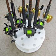 Circular Fishing Rod Rack For 16 Rods And Reels Storage Pole Holder Plus Revolving