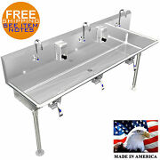 Multi Station 3 Users Hand Sink Wash Up 72 Knee Valve Stainless Stl Made In Usa
