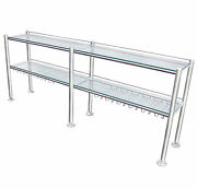 Stainless Steel Commercial Wine Rack With 2 Tempered Clear Glass 3/8 Shelves