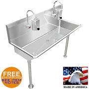 Hand Sink 2 Station 40 Hands Free Heavy Duty Stainless Steel Electronic Faucet