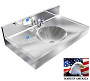 Ada Hand Sink Stainless Steel Elect Faucet 1 Station 36 Round Bowl Made In Usa