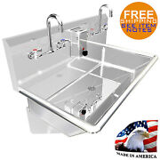 Compact Hand Sink Multistation 2 Users 36 Wall Mount Manual Faucet Steinless S.