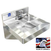 Ada Hand Sink+single Control Faucet+16oz Soap Dispenser Heavy Duty Stainless S.