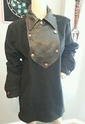 Rare Mens The Cast Ny New York Black Boiled Wool Leather Shirt S