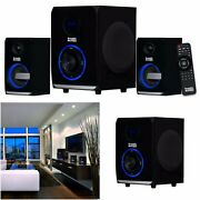 Home Stereo System Led Music Audio Player Bluetooth 2.1 Mp3 Radio Speakers Black