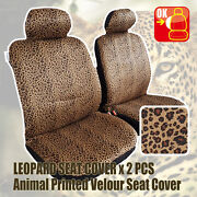Pair New Animal Print Suede Velour Zebra Leopard Tiger Car Seat Cover For Toyota