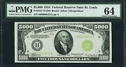 Fr. 2221-h 1934 5000 Frn Federal Reserve Note Pmg Choice Uncirculated-64