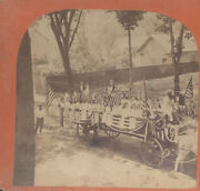 Stereoview Of Fourth Of July Pageant W/ Parade Queen On Float - Lowell, Mass