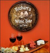 Wine Bar Personalized Quarter Barrel Wood Sign Great Man Cave Bar Garage Pub