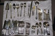 Vintage French Silver Plate 120 Pieces Knife Fork Spoon Ladle Cake Dessert