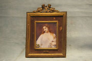 Flora Miniature French 19 Painting Bya.francois And Cupid Bronze Frame Gore Vidal