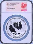 2017 P Australia Silver Lunar Year Of The Rooster Ngc Ms 70 10 Oz 10 Coin Er