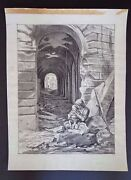 Edward Laning Signed Charcoal/pencil Drawing + 1963 Exhibition Brochure Inv2558