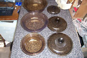 3 Pyrex Vision Ware Amber Glass Oven Casseroles Dishes