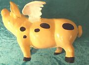 Cast Iron Flying Pig Doorstop Paperweight Angel Wings Painted Like Cow 00101010