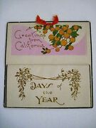 Vintage 1931 Calendar Christmas Greeting Card - California Picture Of Oranges