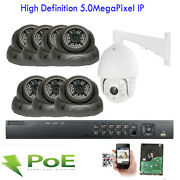 8ch Network Nvr 5mp 2592x1920p 7 Dome + 1 Ptz Ip Poe Outdoor Security Camera 3d