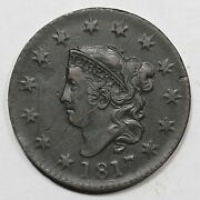 1817 N-8 R-2 Mouse Matron Or Coronet Head Large Cent Coin 1c