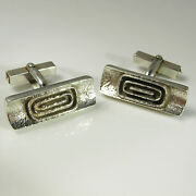 Retro 1970s Jewelry Space Age Silver Cuff Links Groom Wedding Accessories Mens