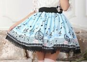 Cosplay Vintage Lolita Musical Note With Stave Prints Kawaii Skirt Light Blue