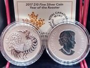 2017 Year Of Rooster 10 Pure Silver Canada Coin