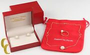 American Pearl 14k Yellow Gold Pendant Stud Earring Set W Box Gift For Her