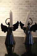 A Pair Of Silver Plate On Brass Altar Angel Candle Holders. Perfect 4 Holidays