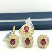 18k Yellow Gold Natural Glass Filled Oval Ruby Diamond Earring Ring Pendant